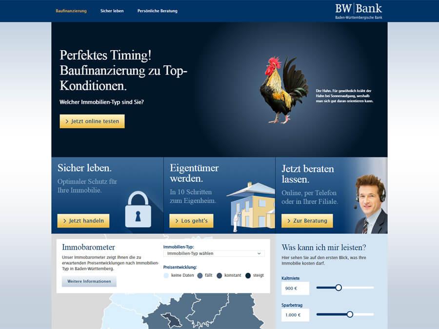 BW-Bank: Moderne Startseite mit Teasern und interaktiven Inhalten wie einem Baukreditrechner