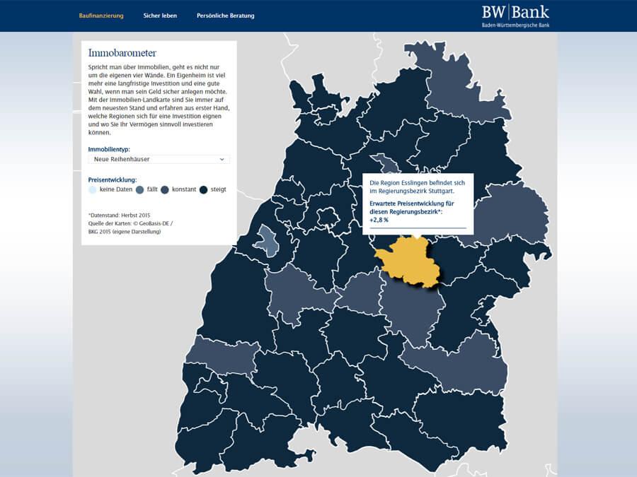 BW-Bank: Interaktive Immobilienkarten aus Basis von Vektorgrafiken