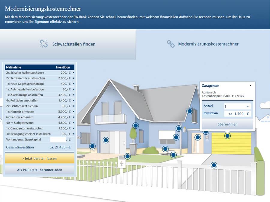 BW-Bank: Interaktiver Kostenrechner mit anschließender automatisierter PDF-Generierung